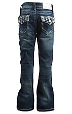 Charme Girl's Dark Wash with Thick Stitch Embriodered Open Back Pocket Boot Cut Jeans