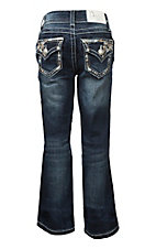 Charme Girl's Faded Dark Wash with Gold and Blue Floral Embroidery Flap Pocket Boot Cut Jeans