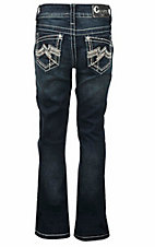 Charme Girl's Dark Wash with Embroidered Open Pocket Boot Cut Jeans