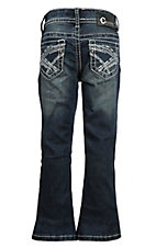 Charme Girl's Dark Wash w/ Blue & White X Pocket Stitching Boot Cut Jeans