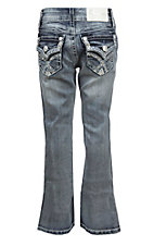 Charme Girl's Light Wash with Thick Stich Embroidered Flap Pockets Boot Cut Jeans