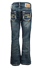 Charme Girls Dark Wash Swirl Stitched Pocket Boot Cut Jeans