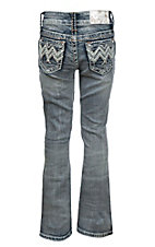 Charme Girl's Light Wash with Zig Zag Embroidered Open Pockets Boot Cut Jeans