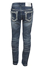 Charme Girl's Dark Wash with Thick Stich Embroidered Open Pockets Boot Cut Jeans