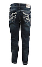 Charme Girl's Dark Wash with Silver Swirl and Rhinestones Open Pocket Skinny Jeans