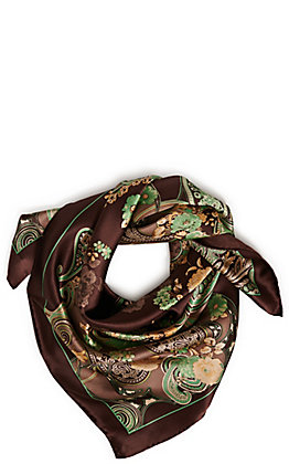 Wyoming Traders Hickory and Mint Charmeuse Silk Scarf