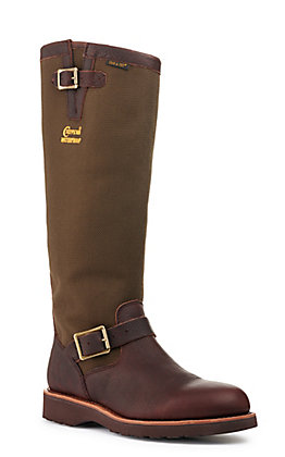 Chippewa Men's Brome Dark Brown and Green Waterproof Round Toe Snake Boot