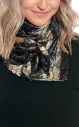 Charmeuse Black & Gold Python Silk Wild Rags Scarf