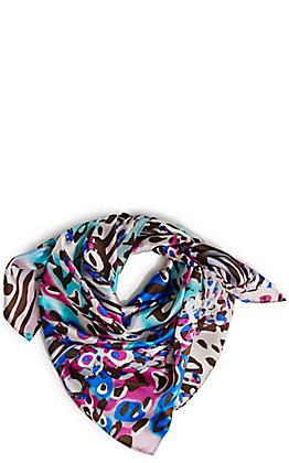 Wyoming Traders Bamboozled Blue and White Charmeuse Silk Scarf