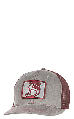 Stackin Bills Charcoal with Burgundy Patch Logo and Mesh Snap Back Cap