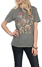 XOXO Art & CO. Women's Heather Grey Cheetah Cactus Graphic S/S T-Shirt