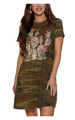 XOXO Art Co. Women's Camo Cactus Graphic T-shirt Dress