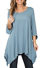 James C Women's Light Blue Ruffle Tunic Casual Shirt