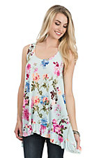 James C Women's Mint Floral Print with Ruffle Trim Sleeveless Casual Knit Tank Top