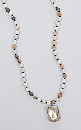 Laminin Chesapeake Amazonite Beaded Chain with Quartz Necklace