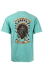 Back Down South Chalk Mint with Chief Logo Short Sleeve Pocket Tee CHIEFCM