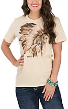XOXO Art & Co. Women's Soft Cream Indian Chief Graphic T-Shirt