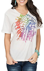 XOXO Art & Co. Women's Soft Cream Indian Chief S/S T-Shirt
