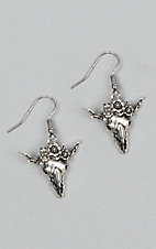 Laminin Women's Brushed Silver Floral Skull Dangle Earrings