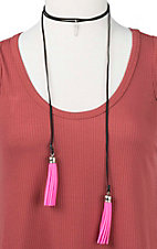 Ranch Designs Black with Pink Tassels and Arrow Pendant Choker Necklace