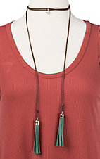 Ranch Designs Brown with Green Tassels and Bow and Arrow Pendant Choker Necklace
