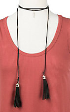 Ranch Designs Black with Tassels and Feather Pendant Choker Necklace