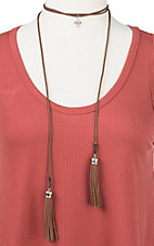 Ranch Designs Brown with Brown Tassels and Cross Pendant Choker Necklace