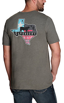 Cavender's Heather Grey Aztec Desert Texas Logo Short Sleeve T-Shirt