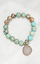 Kori Green Turquoise Beads with Druzy Charm Stretch Bracelet