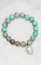 Kori Green Turquoise Beads with Baroque Pearl Charm Stretch Bracelet