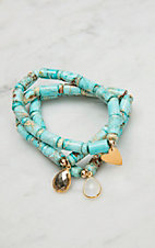 Kori Green Turquoise Beads with Charms Stretch Bracelet Trio Set