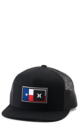 Hurley Black with Texas Flag Logo Patch Snapback Cap