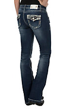 Charme Women's Faded Dark Wash with White and Gold Thick Stitch and Fake Flap Open Pocket Boot Cut Jeans