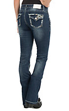 Charme Women's Faded Dark Wash with Floral Embroidery and Rhinestone Embellishments Flap Pocket Boot Cut Jeans