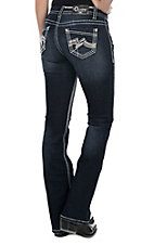 Charme Women's Dark Wash with Embroidered Open Pocket Boot Cut Jeans