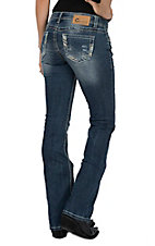 Charme Women's Medium Wash Heavy Stitched Edges Open Pocket Boot Cut Jeans