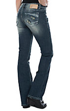 Charme Women's Distressed Pocket Boot Cut Jeans
