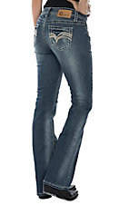 Charme Women's Medium Wash with Beige Stitching Boot Cut Jeans