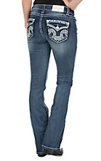 Charme Women's Dark Wash with Blue and White Zig Zag Embroidery Flap Pocket Boot Cut Jeans