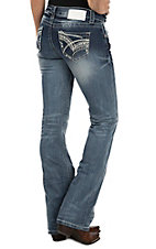 Charme Women's Light/Medium Embroidered Open Pocket Boot Cut Jeans