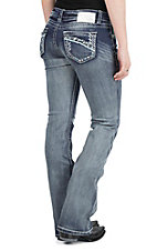 Charme Women's Light Wash with Blue Embroidered Open Pockets Boot Cut Jeans