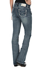 Charme Women's Medium Wash with Decorative Stitching Open Pockets Boot Cut Jeans