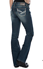 Charme Women's Dark Wash Khaki & Baby Blue Pocket Stitching Boot Cut Jeans
