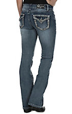 Charme Women's Medium Vintage Wash Grey Embroidered Flap Pocket Boot Cut Jeans