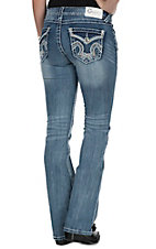 Charme Women's Light Wash with Cream & Orange Embroidered Flap Pocket Boot Cut Jeans