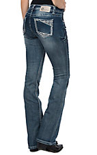 Charme Women's Arrow Patch on Open Pockets Boot Cut Jeans