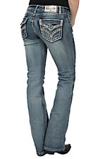 Charme Women's Medium-Light Vintage Wash Embroidered Flap Pocket Boot Cut Jeans