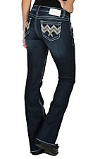 Charme Women's Dark Wash with Zig Zag Embroidered Open Pocket Book Cut Jeans