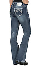 Charme Women's Medium Wash with Line Stitched Open Pocket Boot Cut Jeans