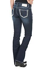 Charme Women's Dark Wash with Blue Embroidered Open Pocket Boot Cut Jeans